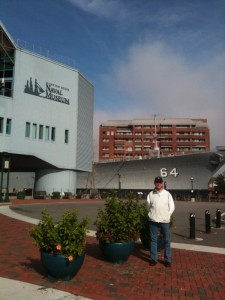 GARY IN FRONT OF NORFOLK NAVAL MUSEUM AND BATTLESHIP WISCONSIN