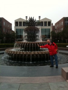 Gary acting like he's leaning on fountain in Charleston, S.C.