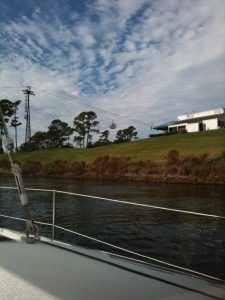Skylift over canal near Myrtle Beach, look for cable and cab above trees