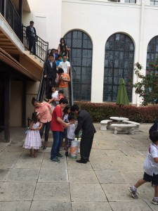 Children getting Easter basket