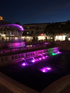 Fountain with colored lights