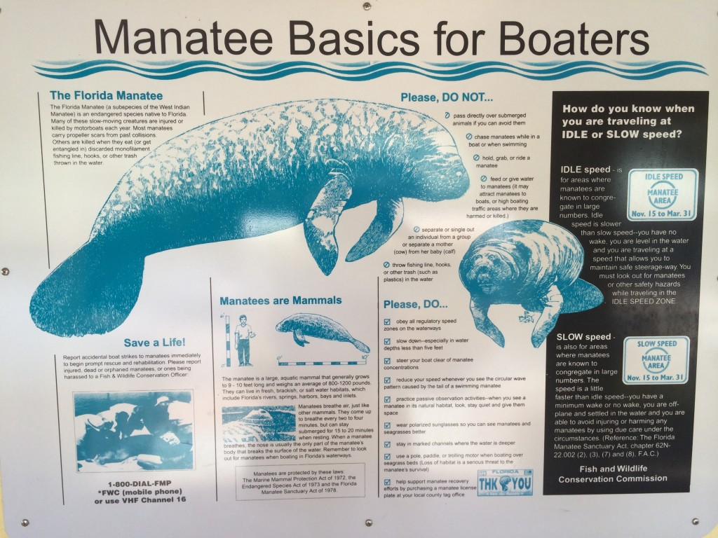 Info sign about manatees Posted at Sunset Bay Marina