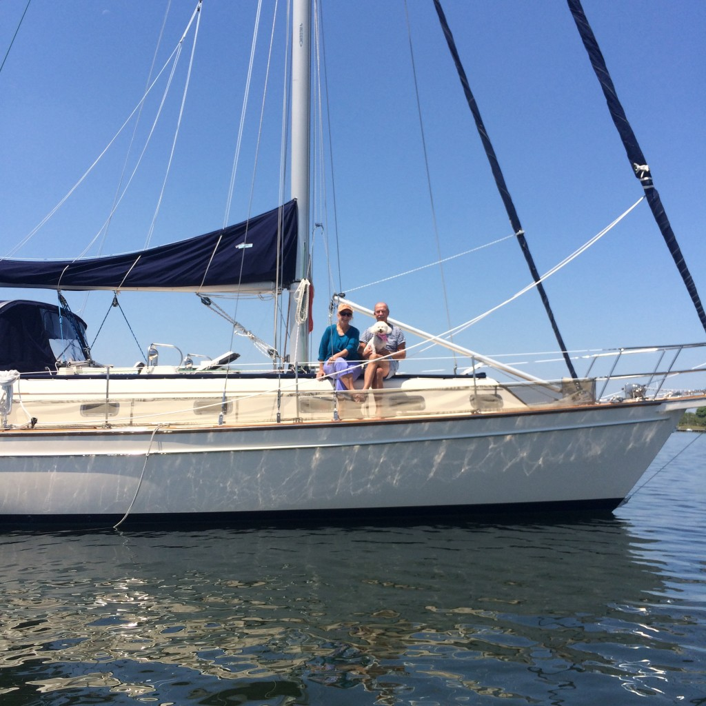 Cheryl, Ed, and Molly aboard S/V Lady Bug V, an Island Packet 40' Cutter