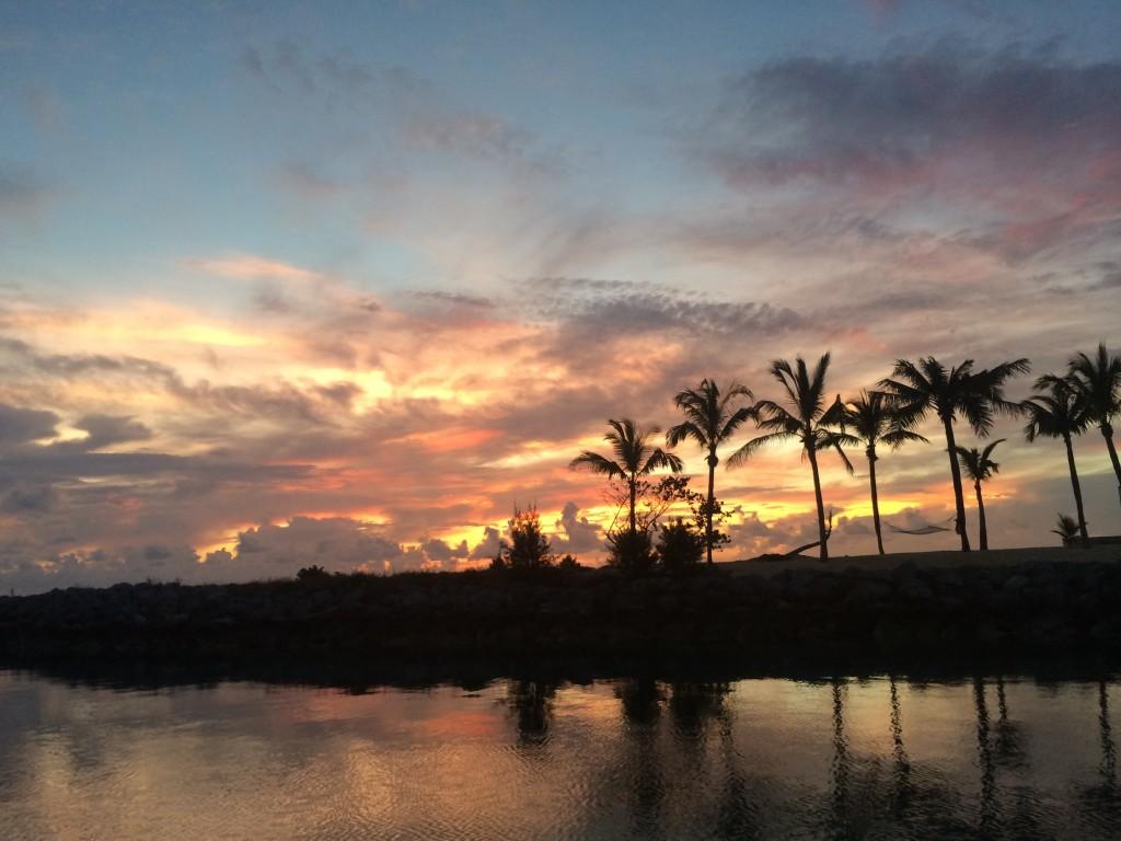 """""""Red sky at morning..."""" Leaving Old Bahama Bay Marina at 6:10 AM"""