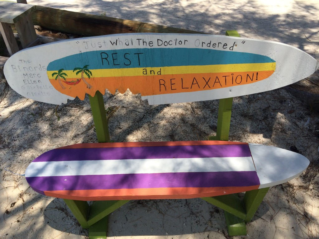 Bench at the beach at Little Harbour