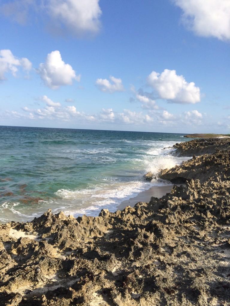 Beautiful ocean, jagged, sharp limestone shore