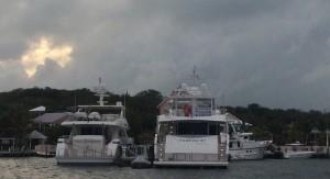 Mega yachts at the marina
